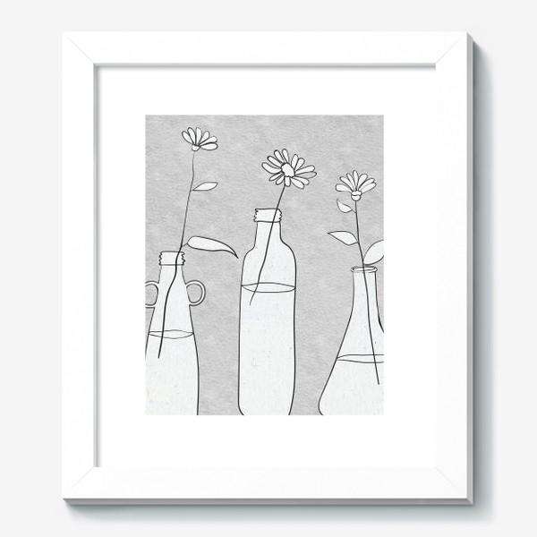 Картина «Цветы в бутылях на светлом фоне.»
