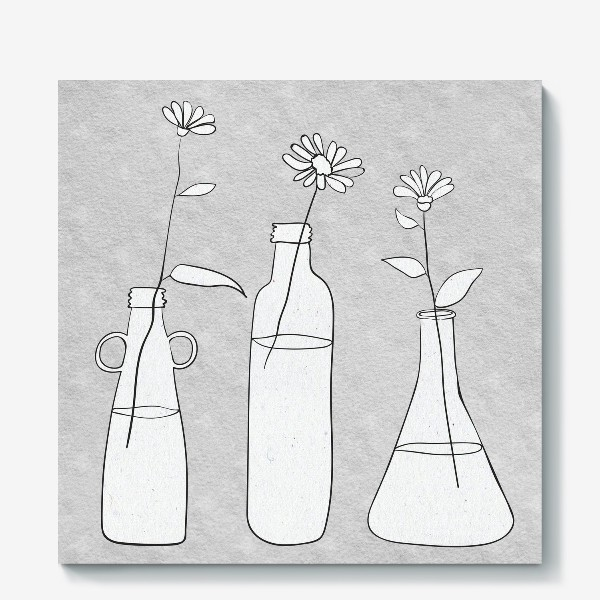 Холст «Цветы в бутылях на светлом фоне.»