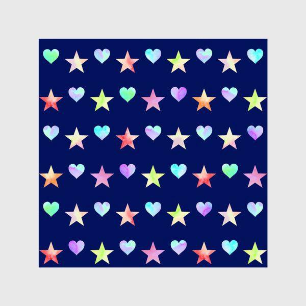 Шторы «Праздничный паттерн из звезд и сердец»