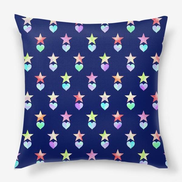 Подушка «Праздничный паттерн из звезд и сердец»