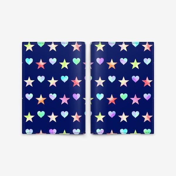 Обложка для паспорта «Праздничный паттерн из звезд и сердец»