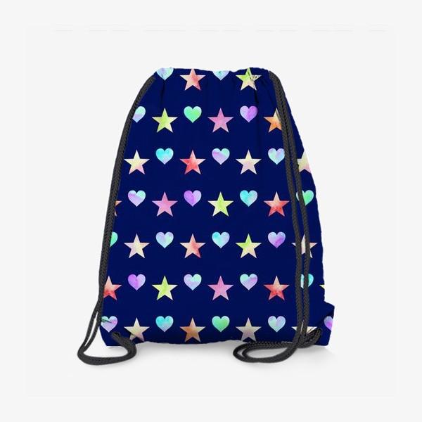 Рюкзак «Праздничный паттерн из звезд и сердец»
