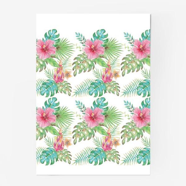 Постер «Тропические растения - паттерн»