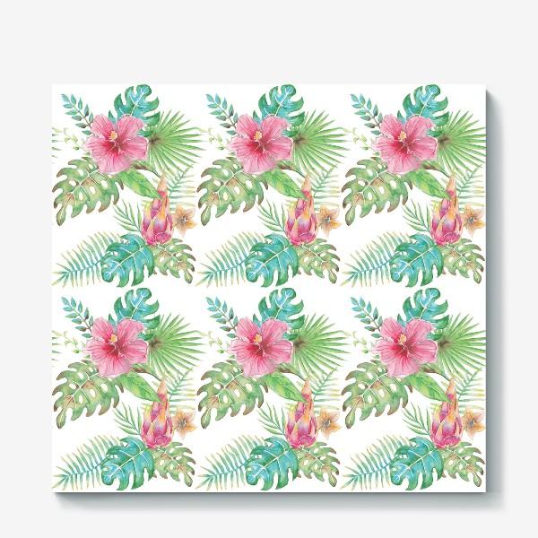 Холст «Тропические растения - паттерн»