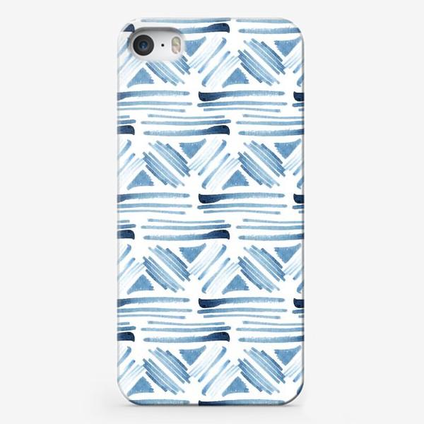 Чехол iPhone «Акварельный бело-синий этнический узор»