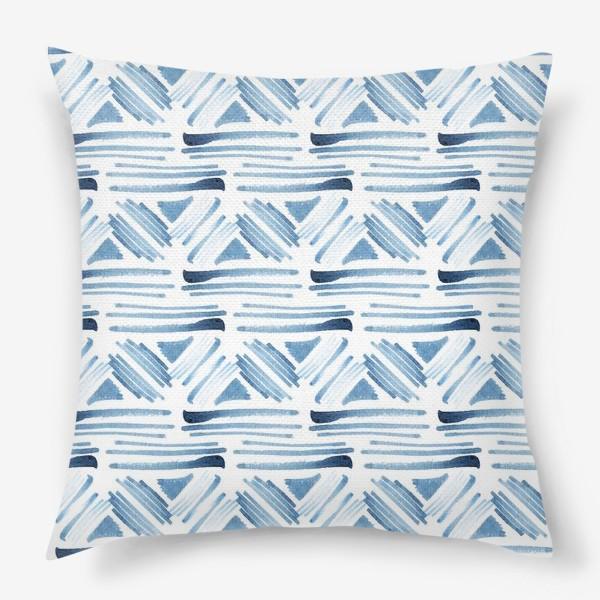 Подушка «Акварельный бело-синий этнический узор»