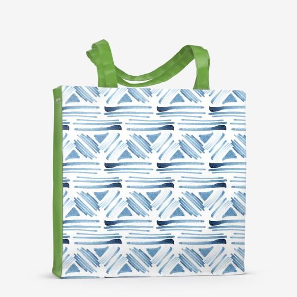 Сумка-шоппер «Акварельный бело-синий этнический узор»