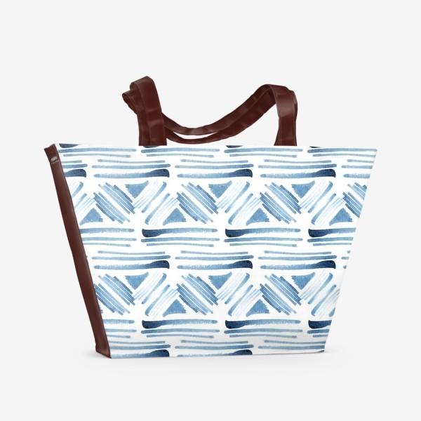 Пляжная сумка «Акварельный бело-синий этнический узор»