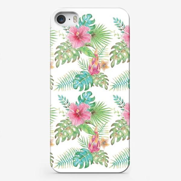 Чехол iPhone «Тропические растения - паттерн»