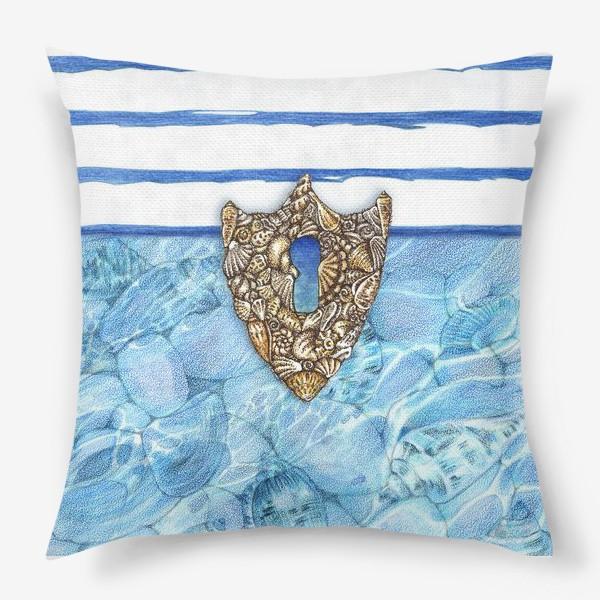 Подушка «Замочная скважина из ракушек»