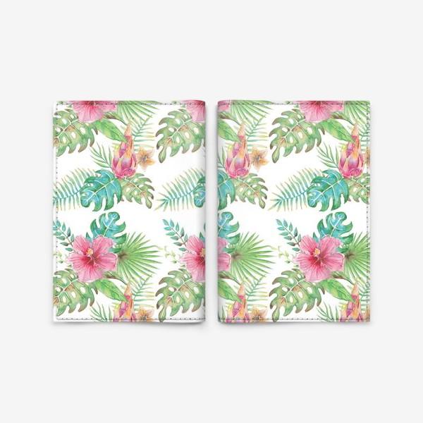 Обложка для паспорта «Тропические растения - паттерн»
