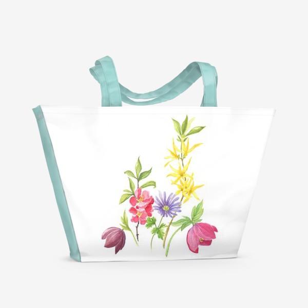 Пляжная сумка «Букет весенних цветов»
