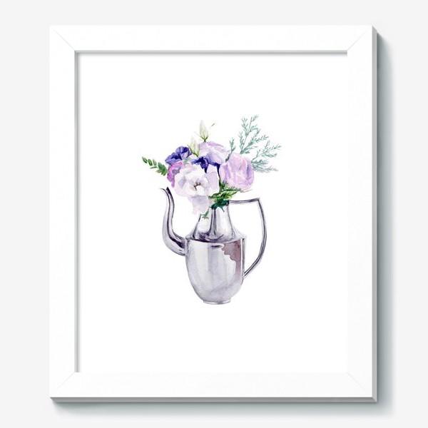 Картина «Акварельный букет в металлическом кувшине»