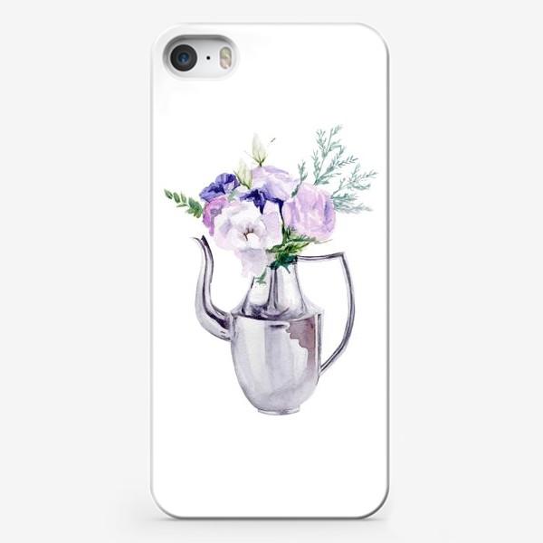 Чехол iPhone «Акварельный букет в металлическом кувшине»