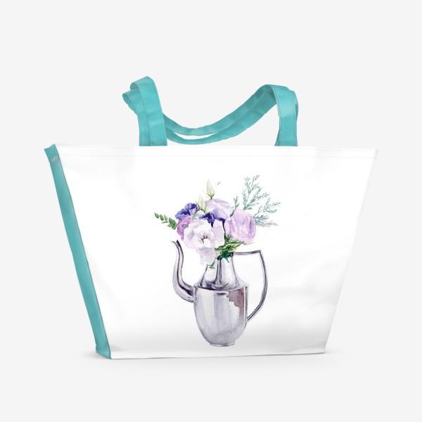 Пляжная сумка «Акварельный букет в металлическом кувшине»