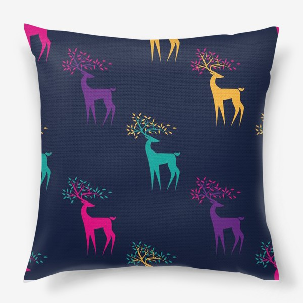 Подушка «Яркие олени»