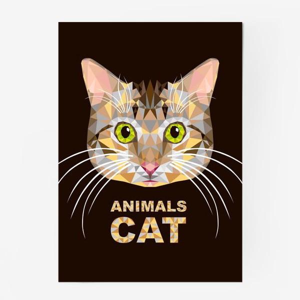 Постер «Полигональный котик. Lowe poly cat»