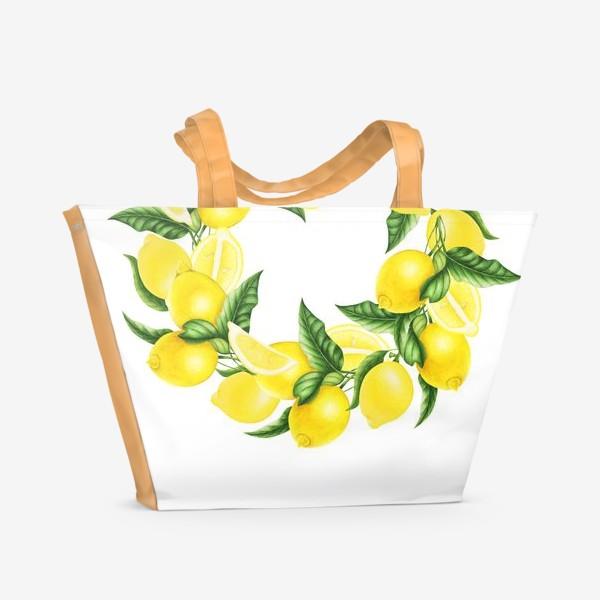 Пляжная сумка «Венок из лимонов и листьев»