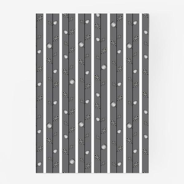 Постер «Узор с листьями и вертикальными полосами в серо-бело-чёрной гамме.»