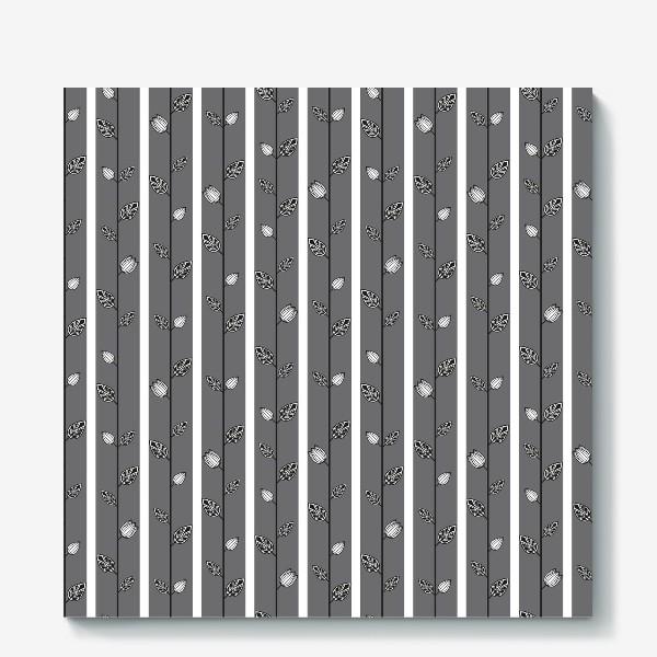 Холст «Узор с листьями и вертикальными полосами в серо-бело-чёрной гамме.»