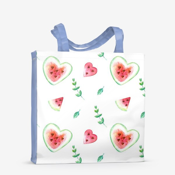 Сумка-шоппер «Красные арбузы и мята. Паттерн»