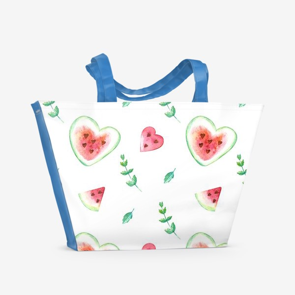 Пляжная сумка «Красные арбузы и мята. Паттерн»