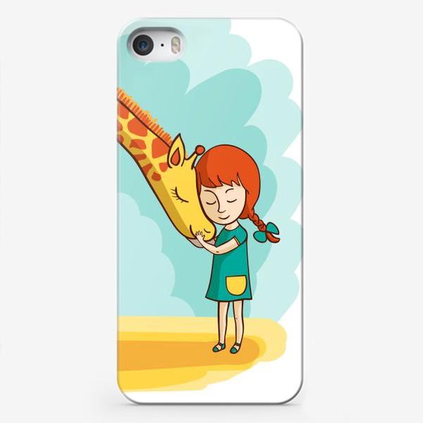 Чехол iPhone «Девочка и жираф»
