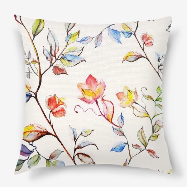Подушка «Цветочный акварельный  принт »