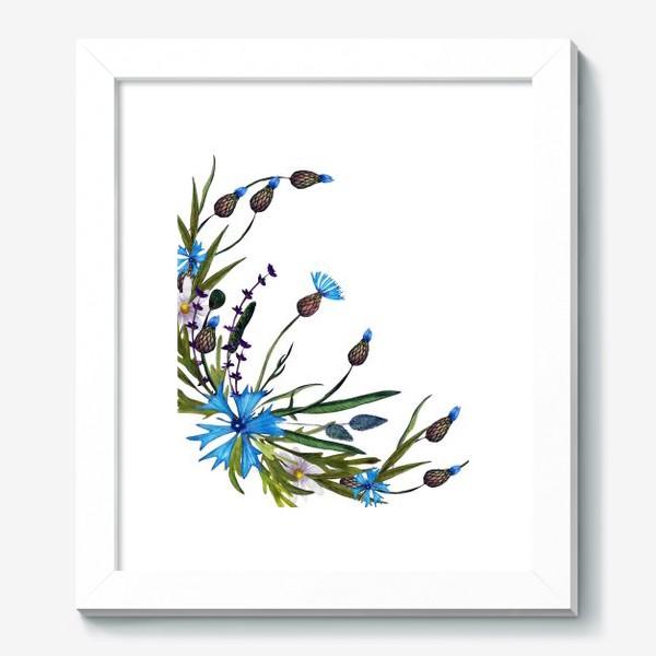 Картина «васильки и ромашки букет»