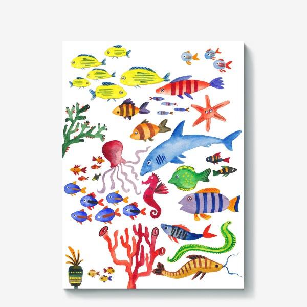 Холст «Рыбы. Подводный мир»