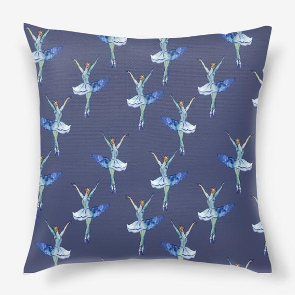 Подушка «Балерины на синем фоне»