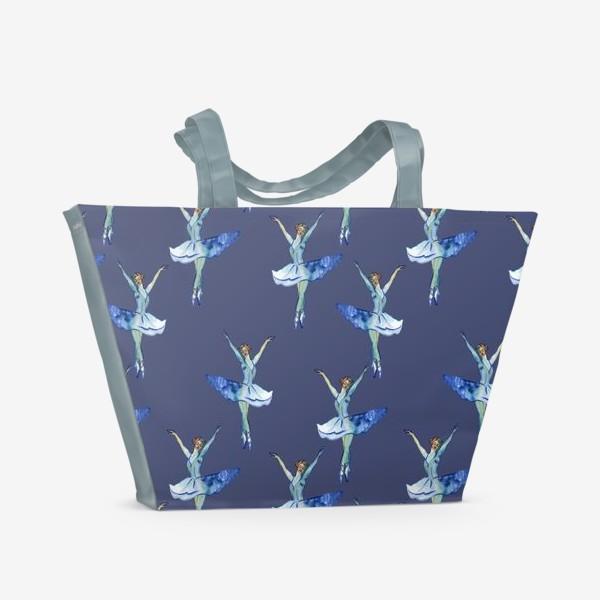 Пляжная сумка «Балерины на синем фоне»