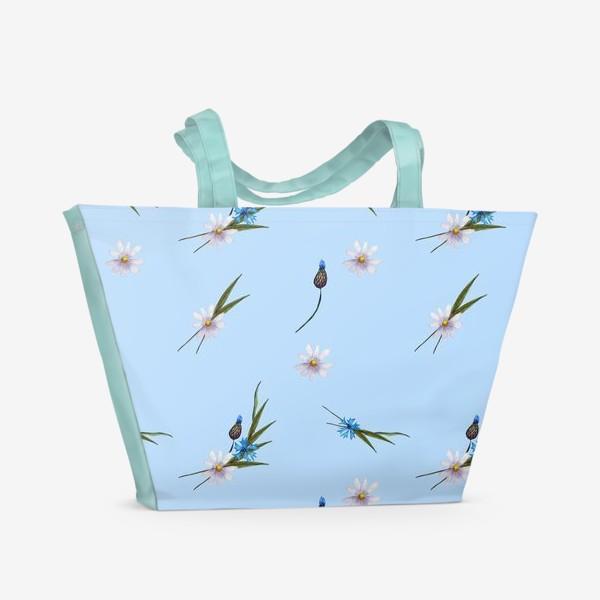 Пляжная сумка «васильки и ромашки »