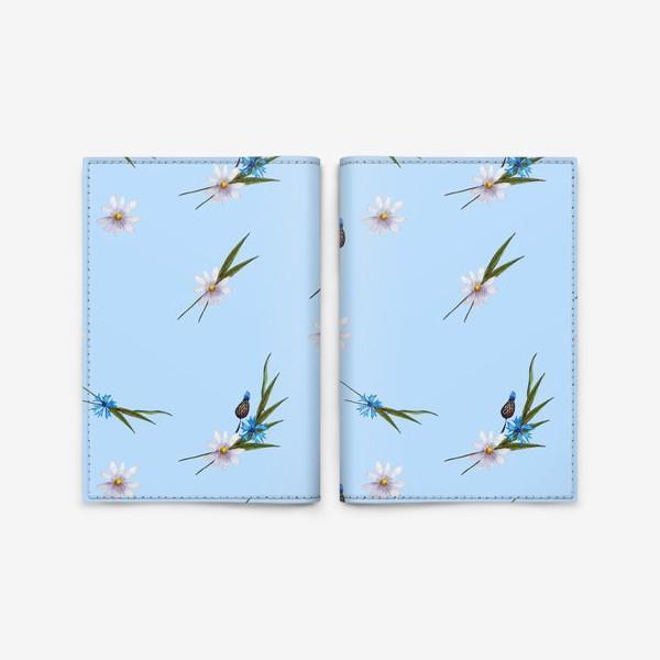 Обложка для паспорта «васильки и ромашки »