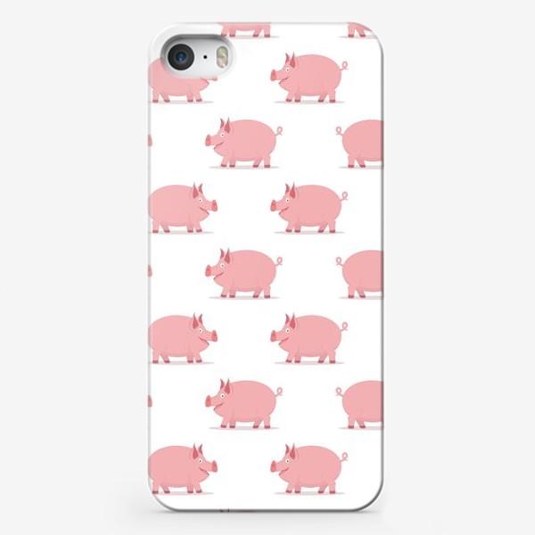 Чехол iPhone «Паттерн со свинками»