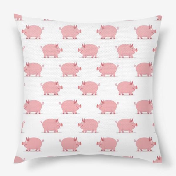 Подушка «Паттерн со свинками»