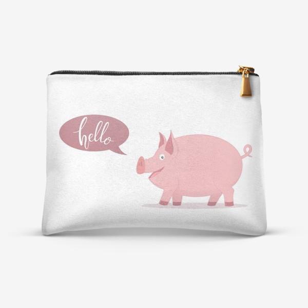 "Косметичка «Свинка приветствует тебя ""Hello""»"
