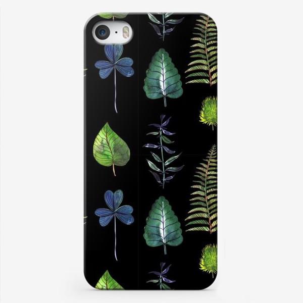 Чехол iPhone «Ботаника: Листья на черном»