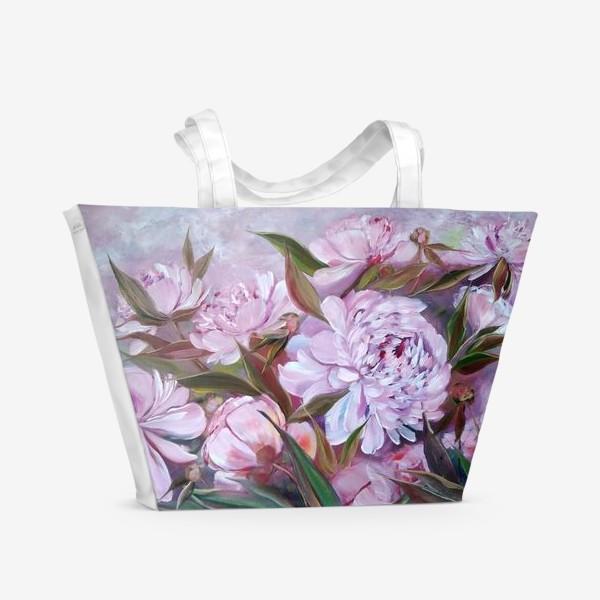 Пляжная сумка «Нежные розовые пионы»