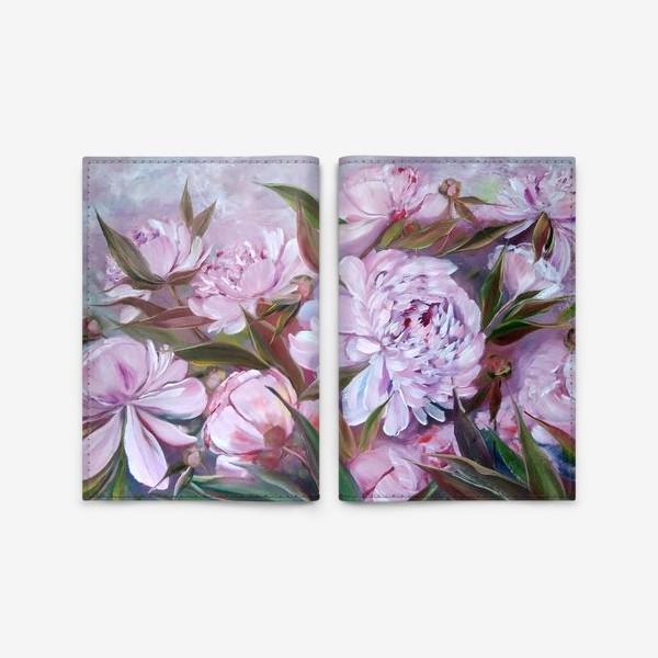 Обложка для паспорта «Нежные розовые пионы»