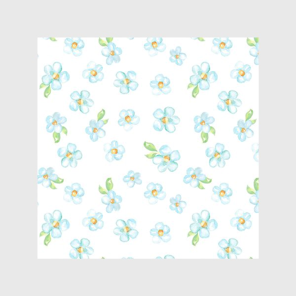 Скатерть «Акварельные голубые цветы, паттерн»