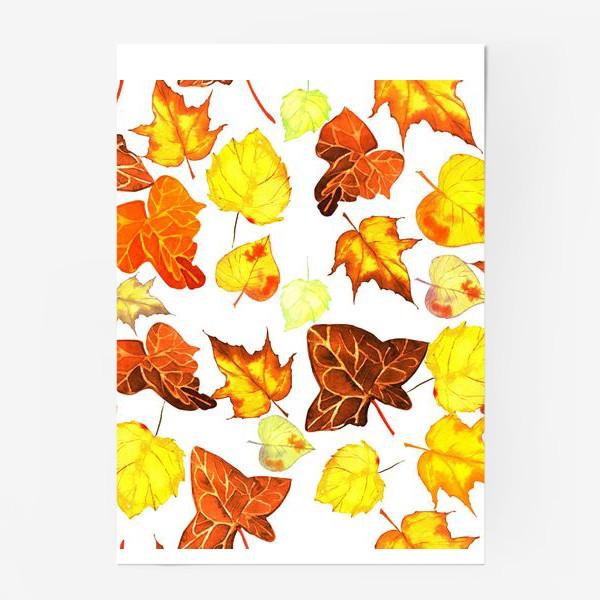 Постер «оранжевые осенние листья»