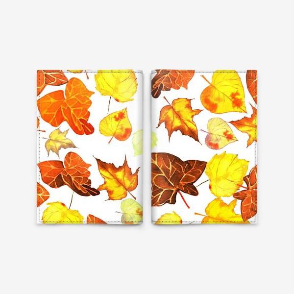 Обложка для паспорта «оранжевые осенние листья»