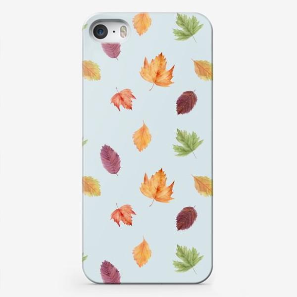 Чехол iPhone «Осенний узор с акварельными листьями»