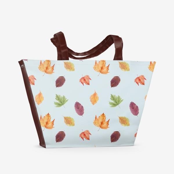 Пляжная сумка «Осенний узор с акварельными листьями»