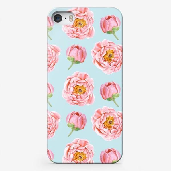 Чехол iPhone «Узор с розовыми пионами»
