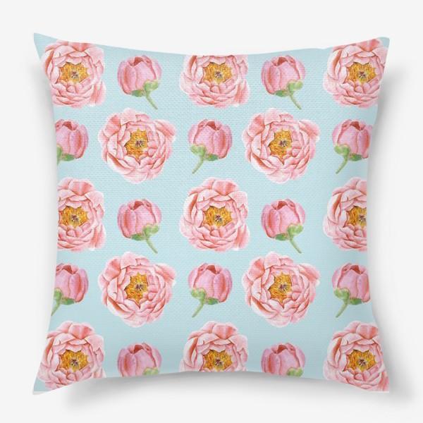 Подушка «Узор с розовыми пионами»