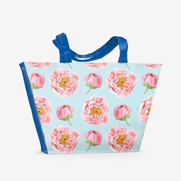 Пляжная сумка «Узор с розовыми пионами»
