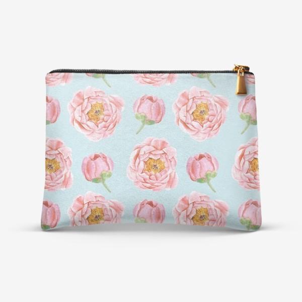 Косметичка «Узор с розовыми пионами»