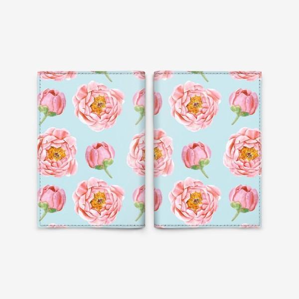 Обложка для паспорта «Узор с розовыми пионами»